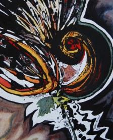 "Blaze series; 2014; 10.5"" x 13""; watercolor over acrylic monotype."