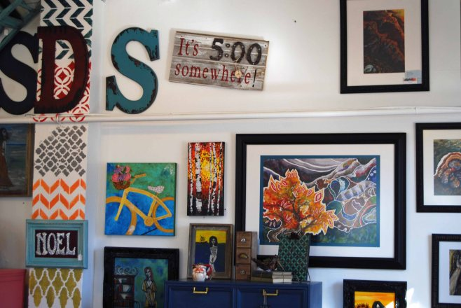Some of my art, displayed at Sincerely Danielle Shunk in Colorado Springs.