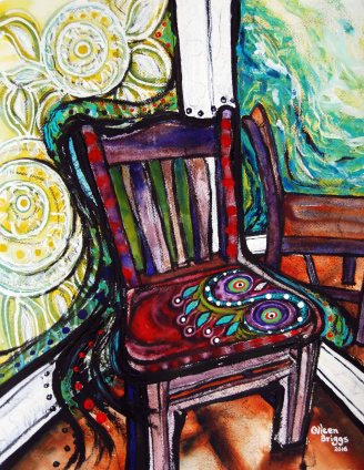 """Chair #2; 2016; 19"""" x 15""""; mixed media: oil-based ink, watercolor, acrylic."""