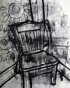 "Mono-type ink study for ""The Chair"""