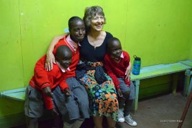 My beautiful mother-in-law with Mathare Worship Centre school kids.