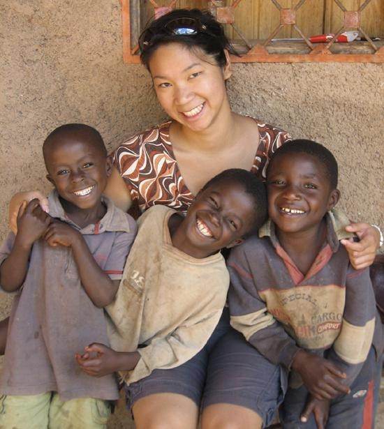 Wendy Lee with kids in Cameroon