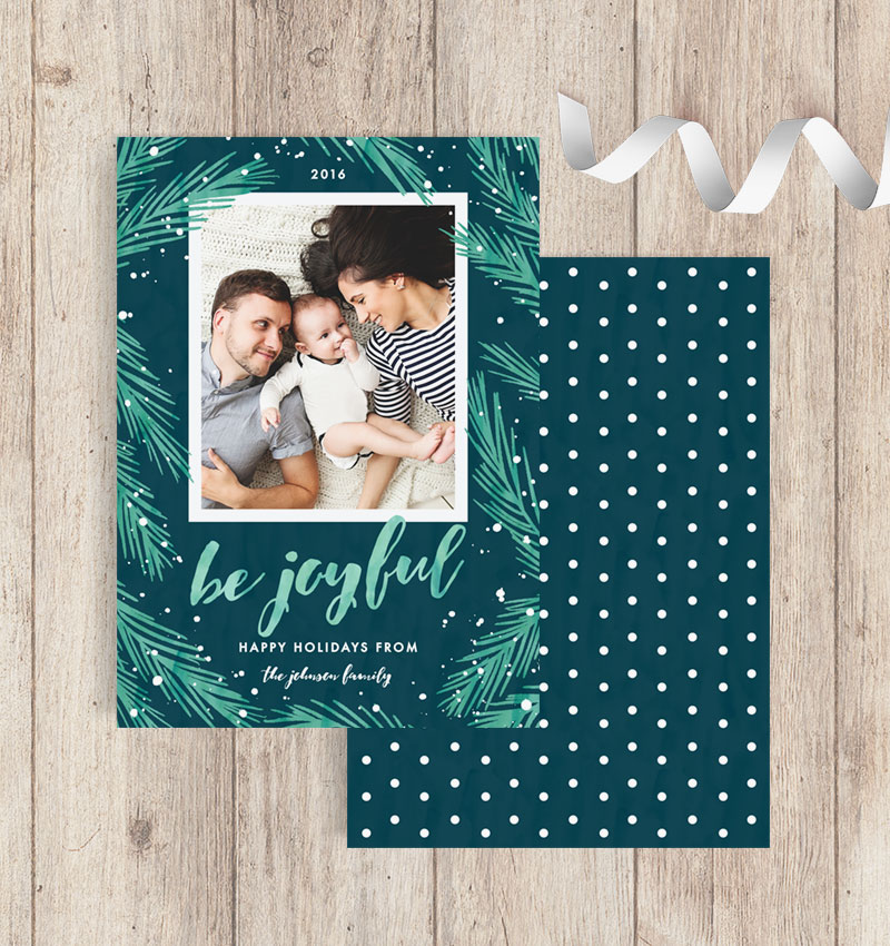 Joyful Pines Green & Blue Photo Holiday Cards - Front & Back View