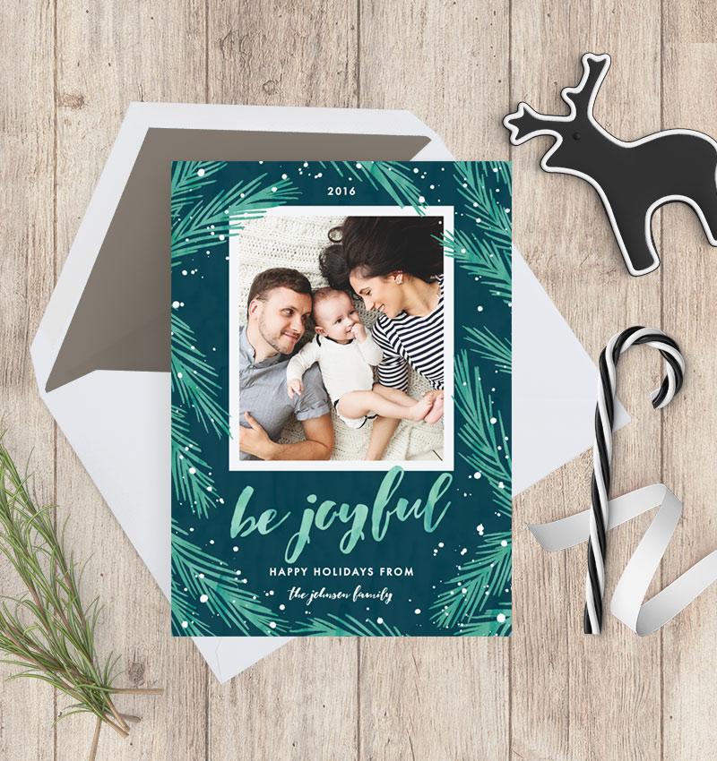 Joyful Pines Green & Blue Holiday Photo Cards - Holiday Flatlay