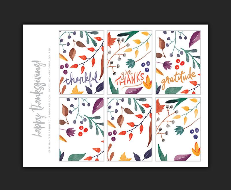 Free Thanksgiving Printable - 8.5 x 11 sheet