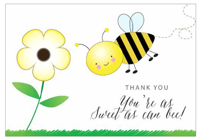 free thank you card with bumble bees