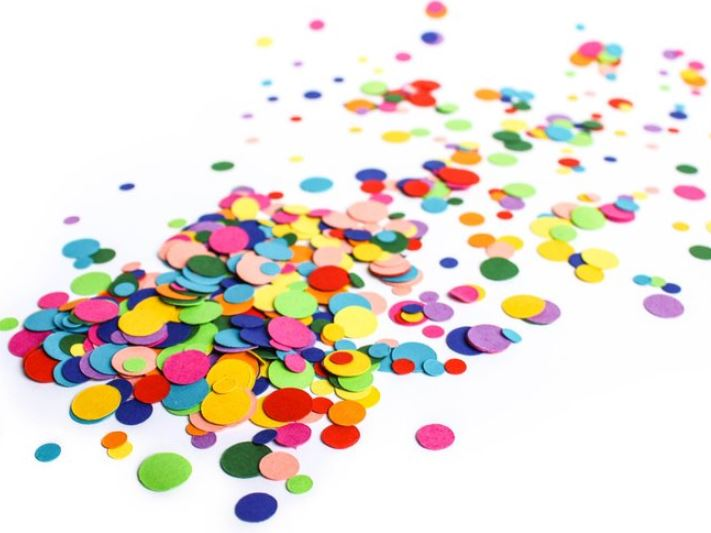biodegradable rainbow confetti dots