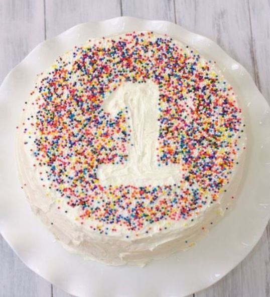 first birthday smash cake with sprinkles