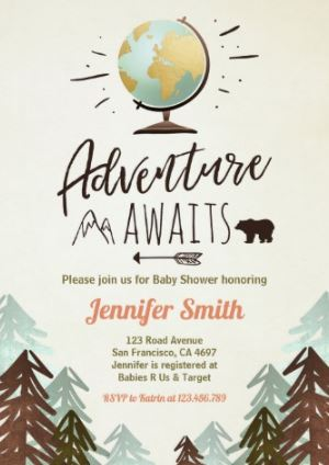 Adventure Awaits baby shower invitation globe