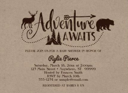 Adventure awaits baby shower invitation on brown kraft