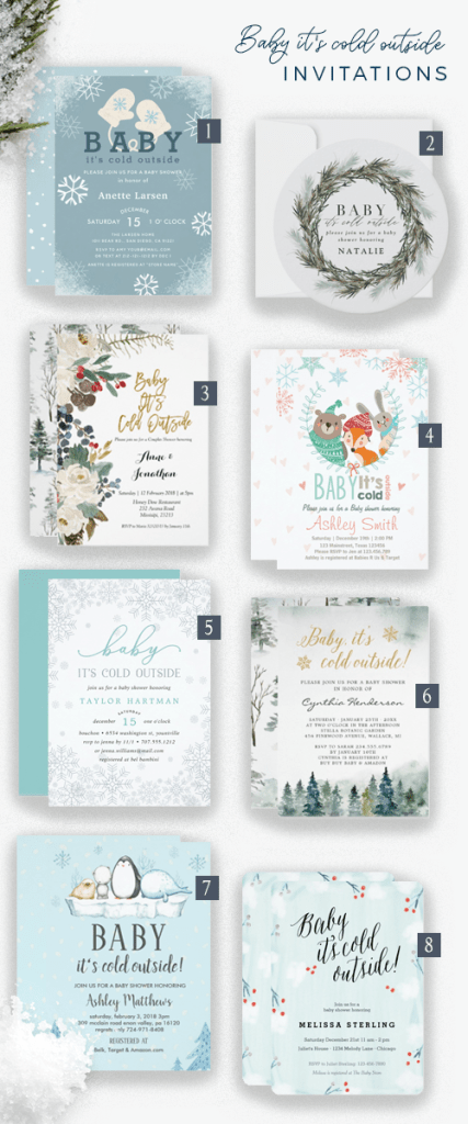 Eight baby it's cold outside baby shower invitations