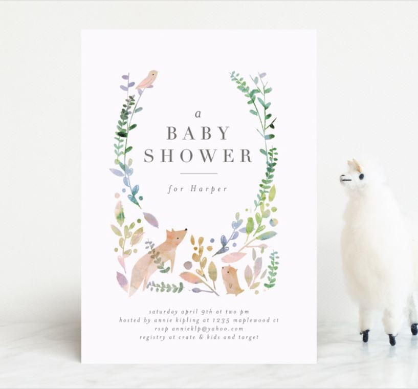 sweet watercolor baby shower with forest animals.