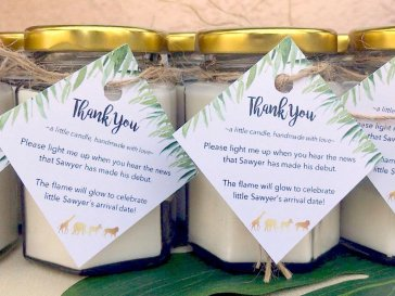 Safari theme thank you favor candles