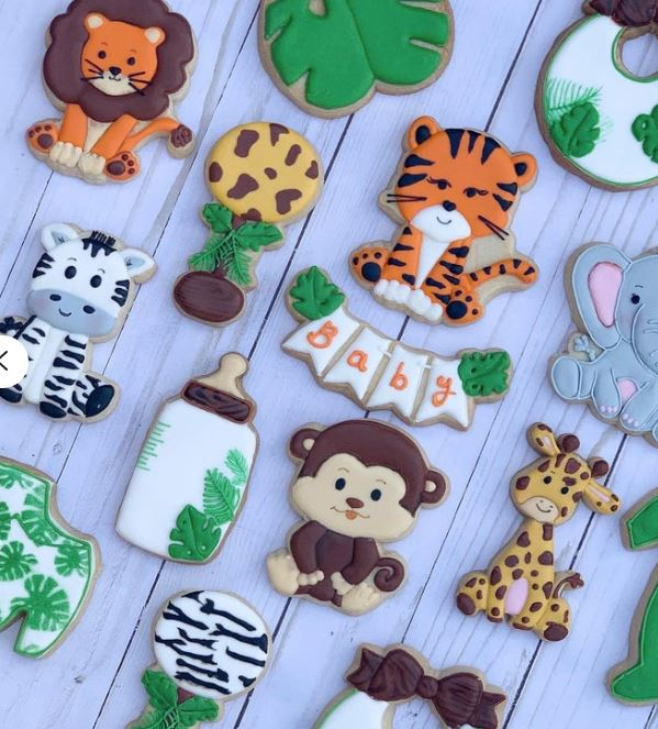baby shower jungle cookies
