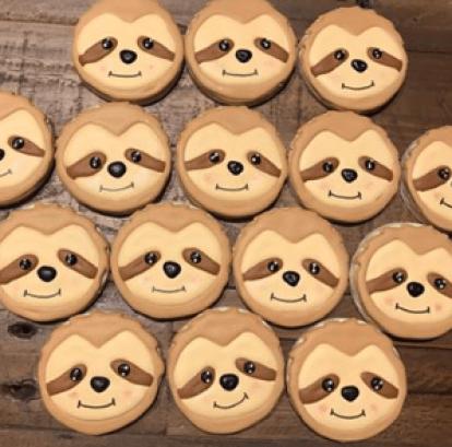 sloth theme birthday cookies