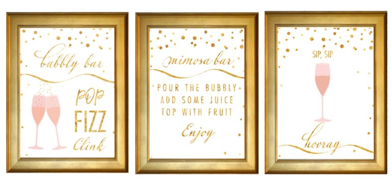 free brunch and bubbly signs from Colleen MIchele