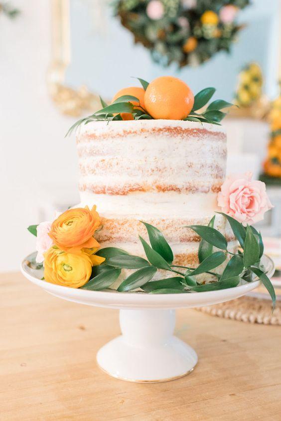 peach naked cake