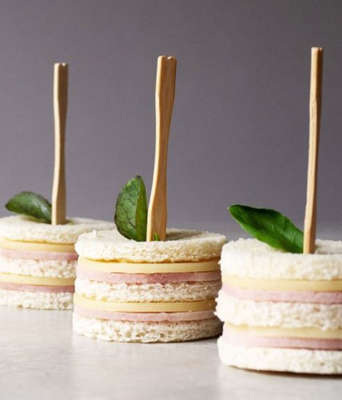 mini cheese and ham sandwiches