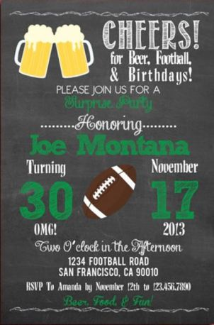Football theme surprise party invitation