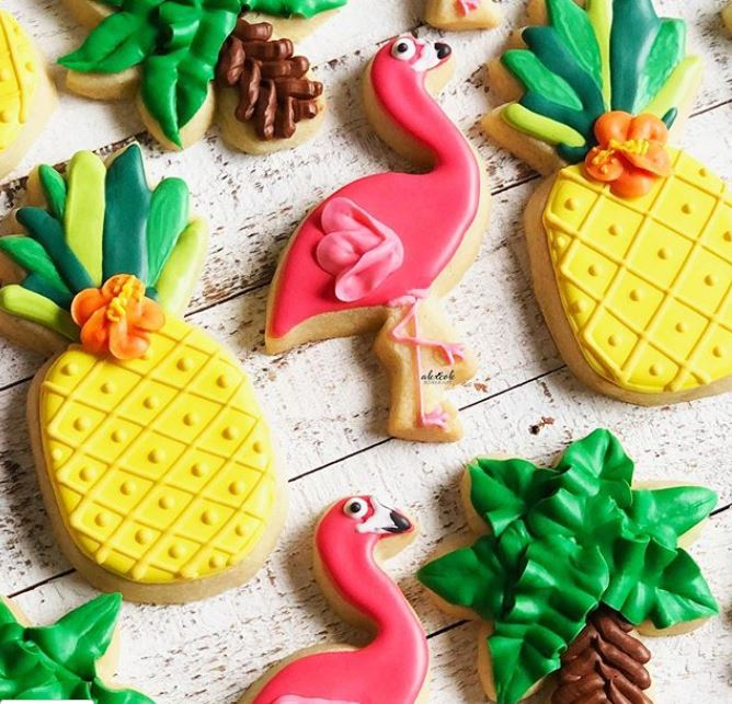 tropical bridal shower cookies
