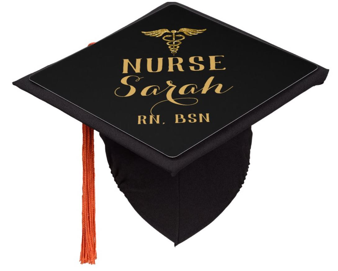Black and gold graduation cap