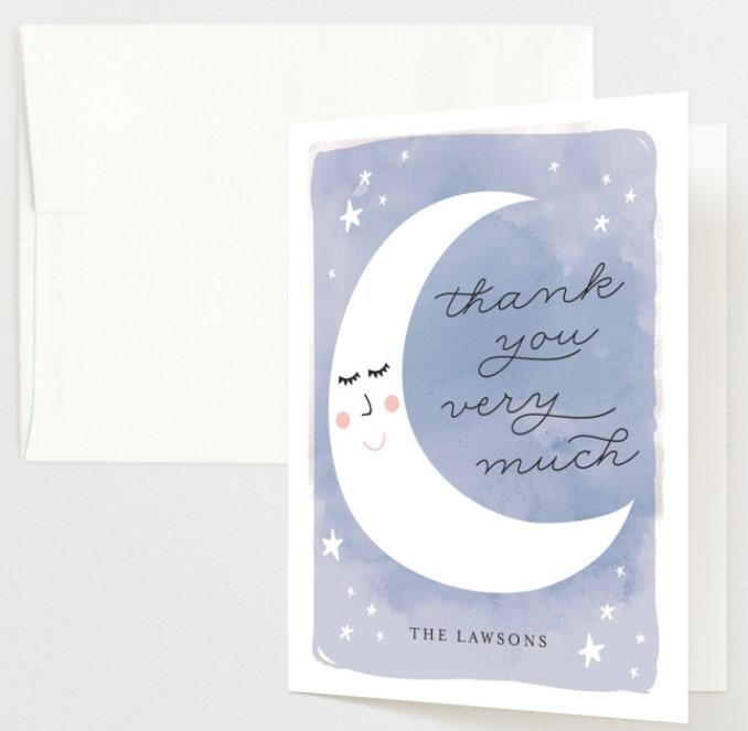 cute moon thank you card