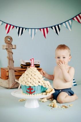 Ari first birthday nautical cake smash