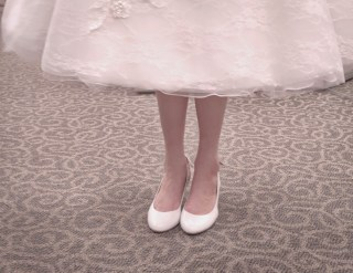 short wedding dress white kitten heels