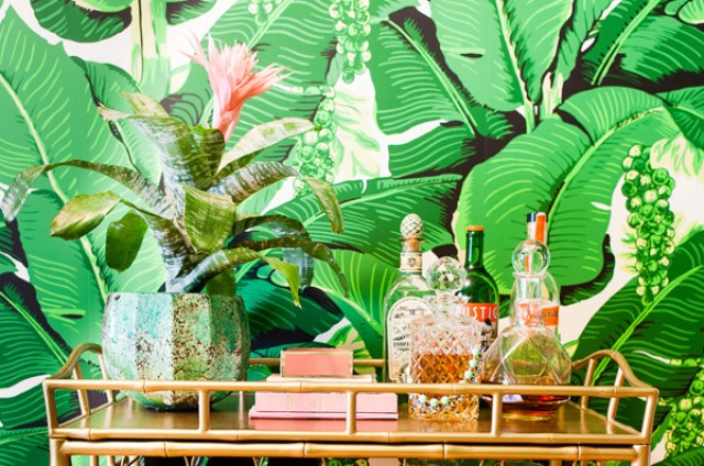bedroom inspiration banana leaf bar cart styling inspiration design decor coocoo for coco