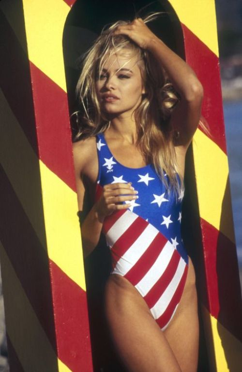 cute 4th of july outfit pamela anderson stars and stripes bathing suit 90s fashion