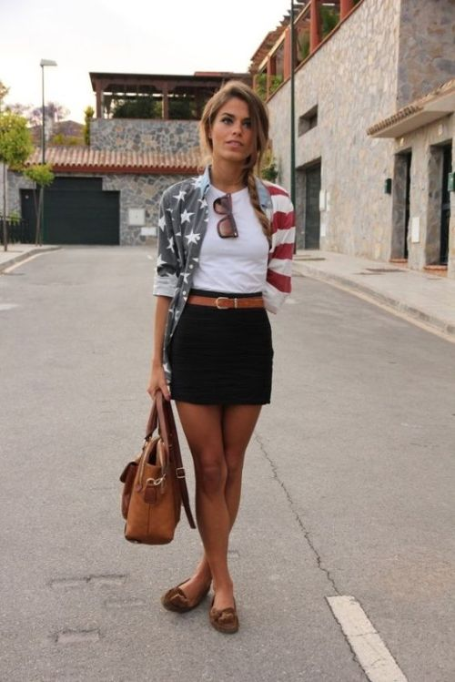 cute 4th of july outfit stars and stripes denim shirt
