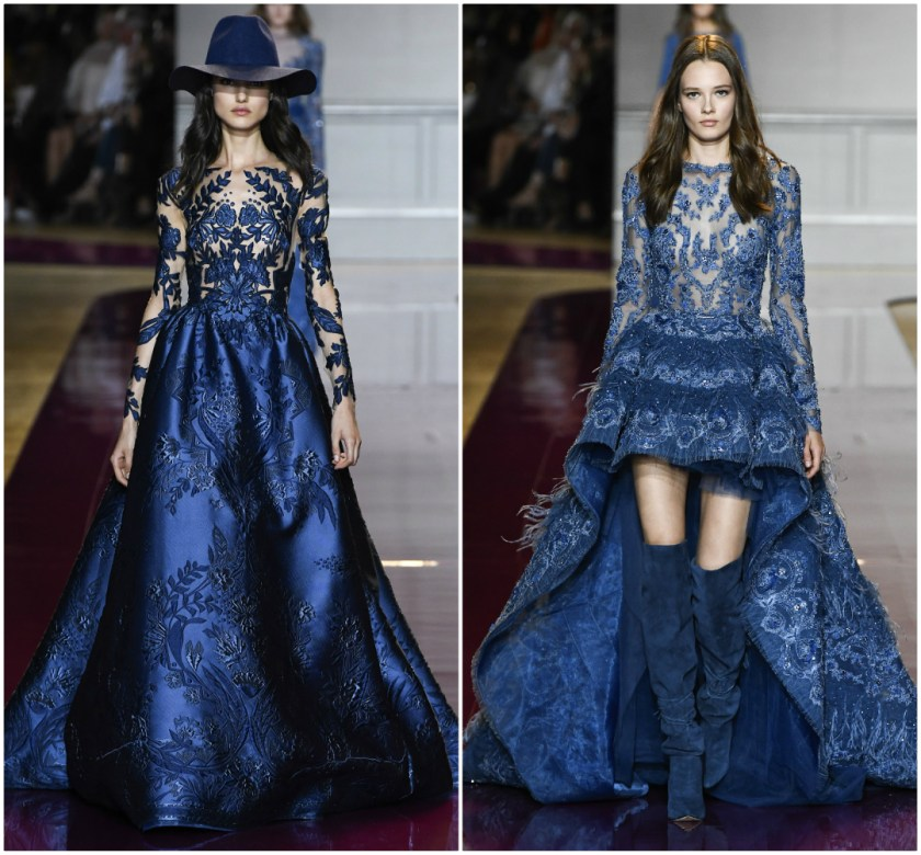 Zuhair Murad Fall 2016 Couture blue sparkly formal dress