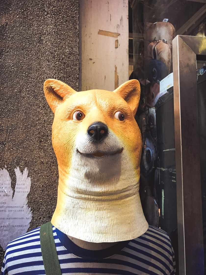 "A ""doge"" mask, found in an alleyway shop in the Shanghai French Concession."