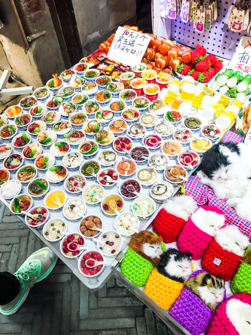 Adorable miniature food magnets found in an alleyway in the Shanghai French Concession.