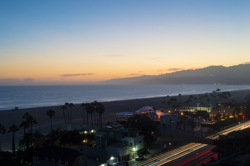The Pacific Ocean and PCH at sunset | Palisades Park, Santa Monica, California | ColleenWelsch.com