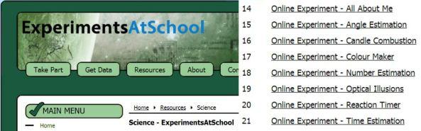 Experiments at School - Online Experiments