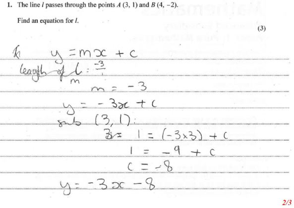 Edexcel Model Answers example