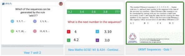 Sequence Quizzes Diagnostic Questions