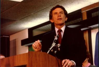 Presidential candidate Gary Hart visits in 1984