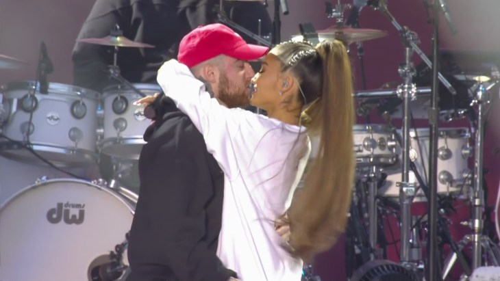 Ariana Grande and Mac Miller kissing during their One Love Manchester Concert performance