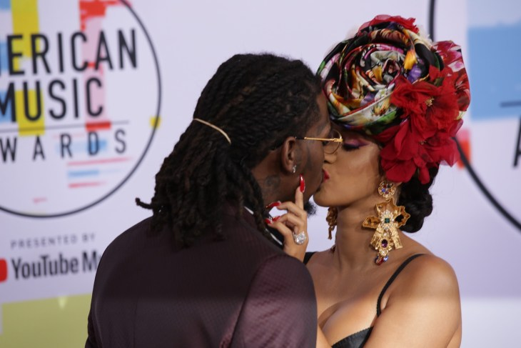Cardi B and Offset on the 2018 American Music Awards red carpet