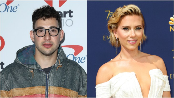 Jack Antonoff at the 2017 iHeartRadio Music Festival red carpet. Scarlett Johansson at the 70th Emmy Awards at the Microsoft Theater in Los Angeles.