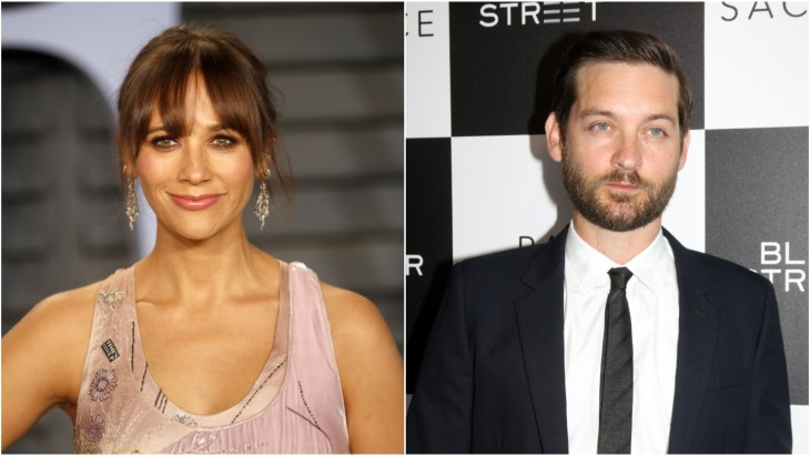 Rashida Jones on the red carpet at Vanity Fair's 2018 Oscars after party and Tobey Maguire in a suit at the premiere of Pawn Sacrifice in Los Angeles