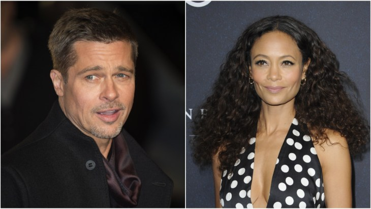 Brad Pitt wearing a black coat on the red carpet at the London premiere of Allied. Thandie Newton in a polka dot dress at Variety's Power Of Women 2018 event.