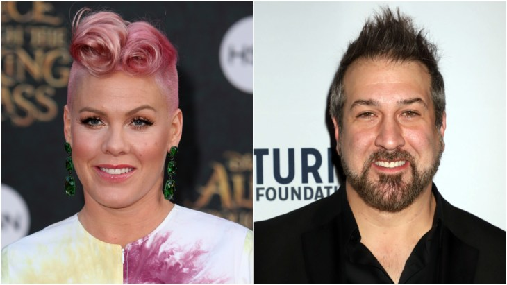 Pink on the red carpet at the 2016 Disney's Alice Through The Looking Glass premiere and Joey Fatone at the 2018 Derek Jeter Celebrity Invitational Gala