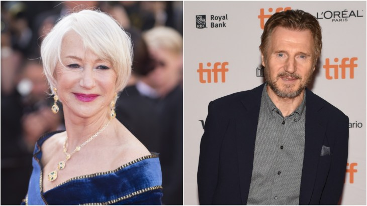Helen Mirren in a blue dress at the premiere of Girls of the Sun at the 2018 Cannes Film Festival in France and Liam Neeson at the 2017 Toronto Film Festival premiere of Mark Felt: The Man Who Brought Down The White House