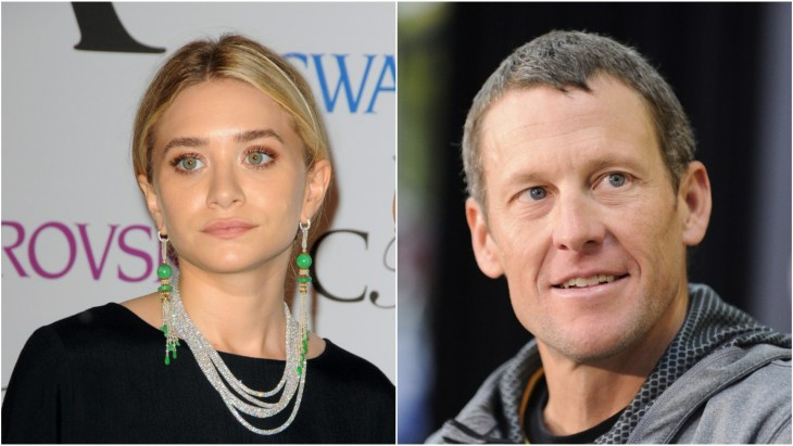 Ashley Olsen at the 2014 CFDA Fashion Awards red carpet and Lance Armstrong at the launch of LiveStrong Fitness Equipment in Canada