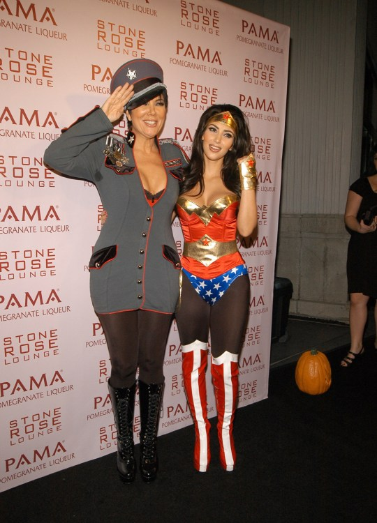 Kris Jenner and Kim Kardashian celebrating Halloween as an army general and Wonder Woman