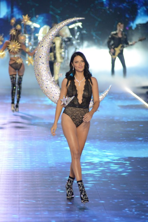 Adriana Lima modeling at the Victorias's Secret Fashion Show 2018