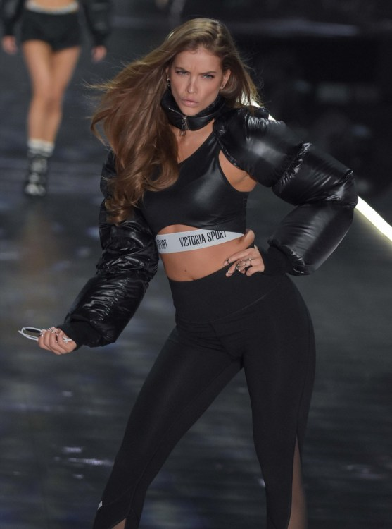 Barbara Palvin modeling at the Victorias's Secret Fashion Show 2018